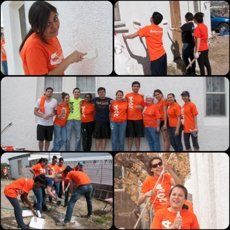 Our dedicated volunteers painting Hazel's house as part of UTEP's Project MOVE on March 1st, 2014.